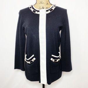 Tory Burch Black White Wool Knit Blazer